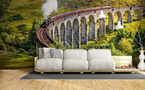 Fototapeta krajobraz z pociągiem