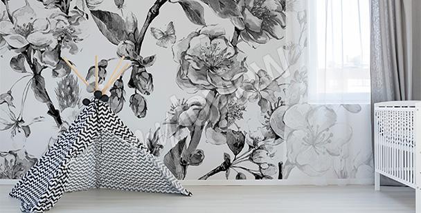 Fototapeta kwiaty wiśni czarno-białe