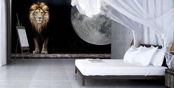 Fototapeta lew i Księżyc