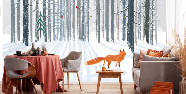 Fototapeta lis w zimowym lesie