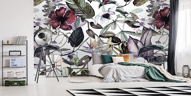 Fototapeta magnolie i dzikie rośliny