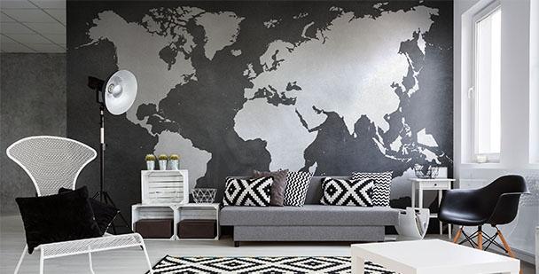 Fototapeta mapa czarno-biała