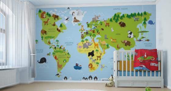 Fototapeta mapa świata: dla małych podróżników