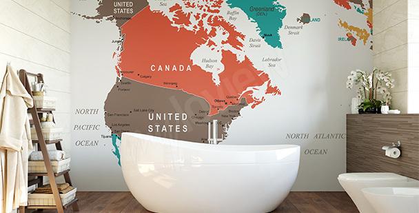 Fototapeta mapa polityczna Ameryki Północej