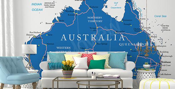 Fototapeta mapa polityczna Australii