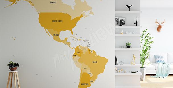 Fototapeta mapa polityczna obu Ameryk
