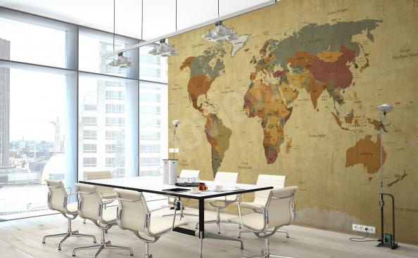 Fototapeta mapa świata do biura