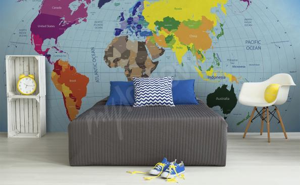 Fototapeta mapa świata kontynenty