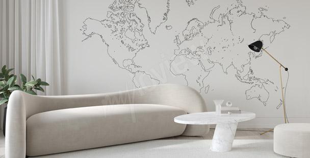 Fototapeta mapa świata minimalistyczna