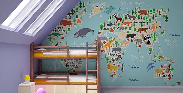 Fototapeta mapa ze zwierząt