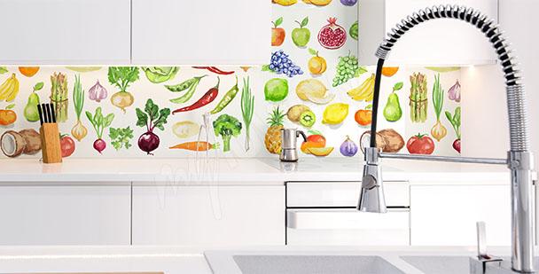 Fototapeta między szafki warzywa