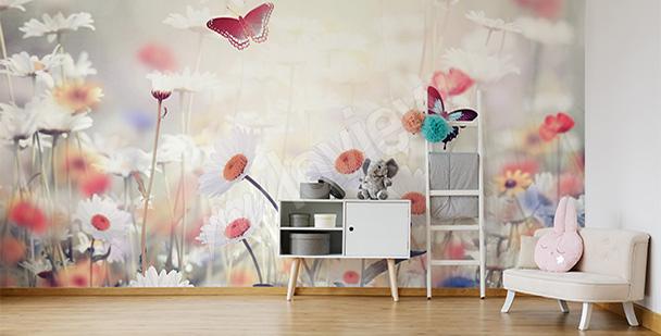 Fototapeta motyle na łące