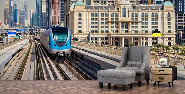 Fototapeta niebieski pociąg