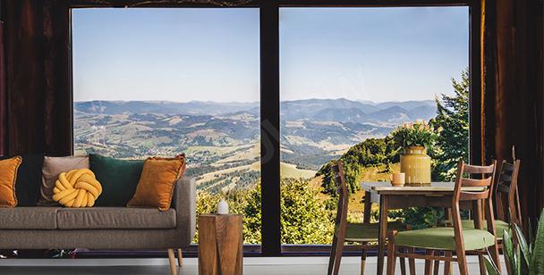 Fototapeta okno z widokiem na góry