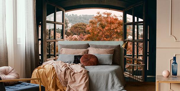 Fototapeta okno z widokiem na las