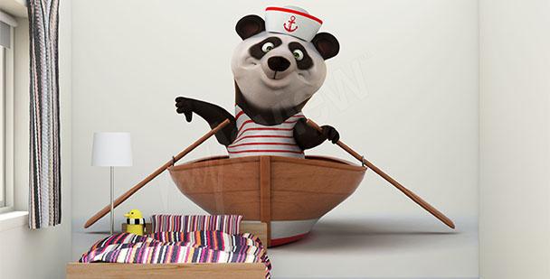 Fototapeta panda na łodzi