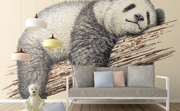 Fototapeta panda szkic do pokoju dziecka