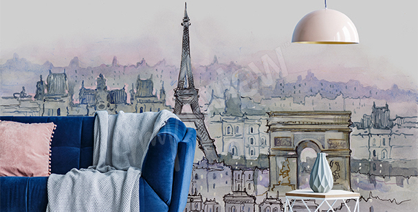 Fototapeta Paryż akwarela