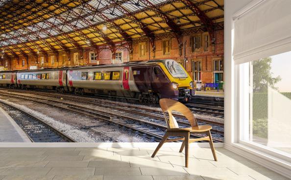 Fototapeta pędzący pociąg
