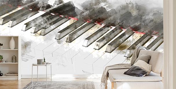 Fototapeta pianino w akwareli