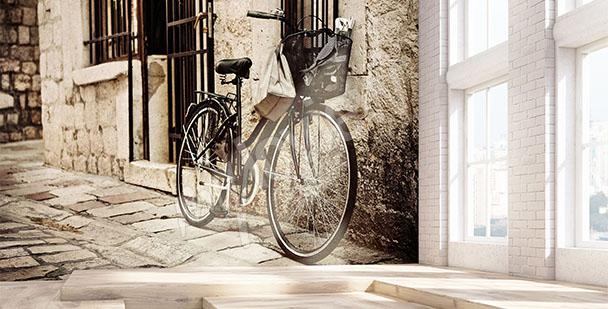 Fototapeta rower i kamienica