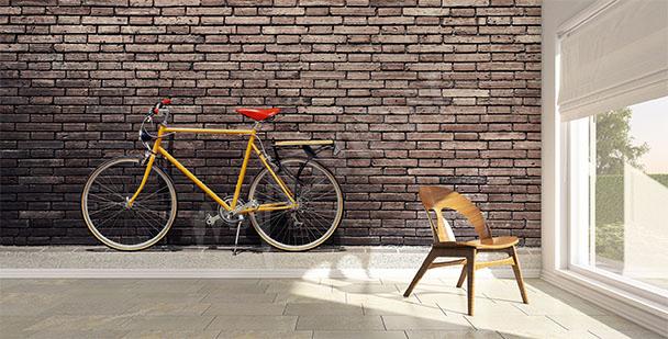Fototapeta rower na tle cegły