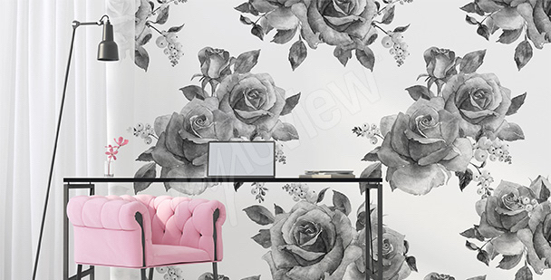 Fototapeta róże biało-czarne