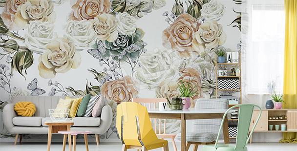 Fototapeta róże w pastelach