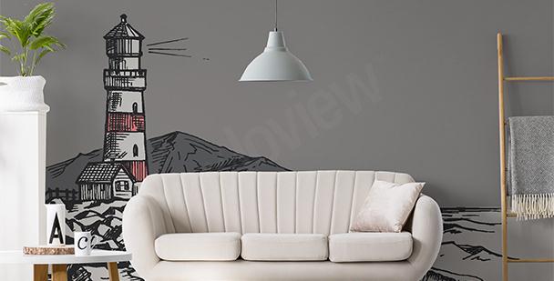 Fototapeta rysunek latarni morskiej