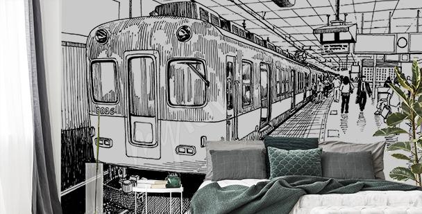 Fototapeta rysunek pociągu