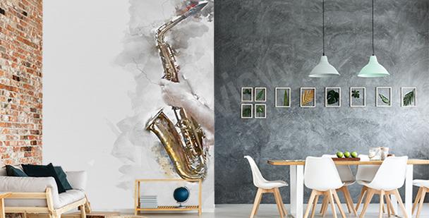 Fototapeta saksofon w akwareli