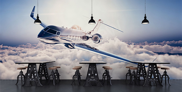 Fototapeta samolot nad chmurami