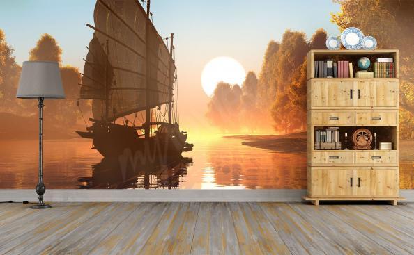 Fototapeta statek i zachód słońca