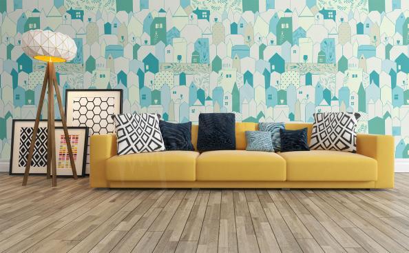 Fototapeta styl skandynawski kolorowe domki