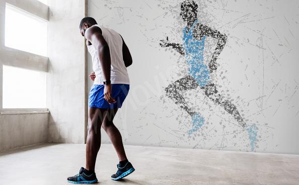 Fototapeta sylwetka biegacza - abstrakcja