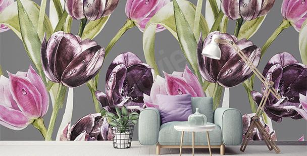 Fototapeta tulipany i krople rosy