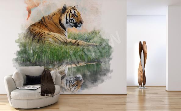 Fototapeta tygrys minimalistyczna
