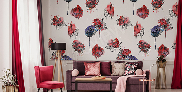 Fototapeta wzór z tulipanami