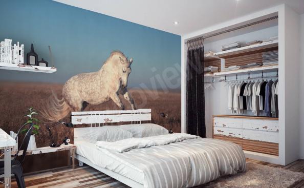 Fototapeta z białym koniem do sypialni