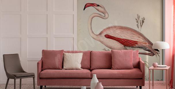 Fototapeta z ilustracją flaminga