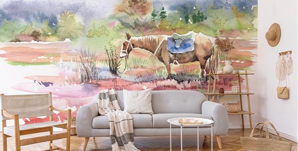 Fototapeta z koniem w akwareli