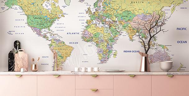 Fototapeta z mapą polityczną do salonu