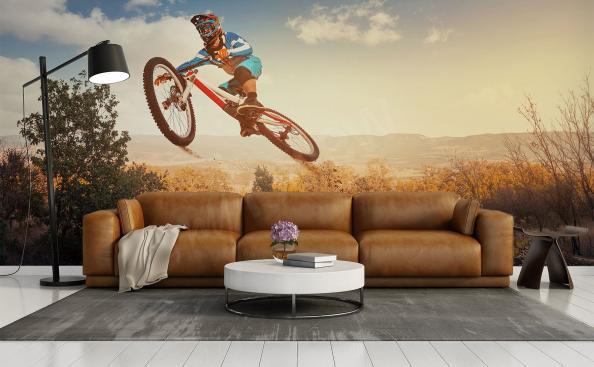 Fototapeta z rowerem w salonie