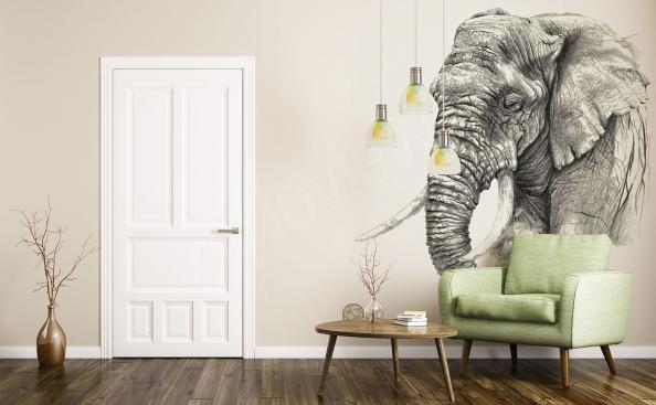 Fototapeta ze słoniem szkic do salonu
