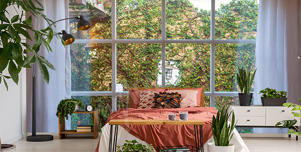 Fototapeta zieleń za oknem