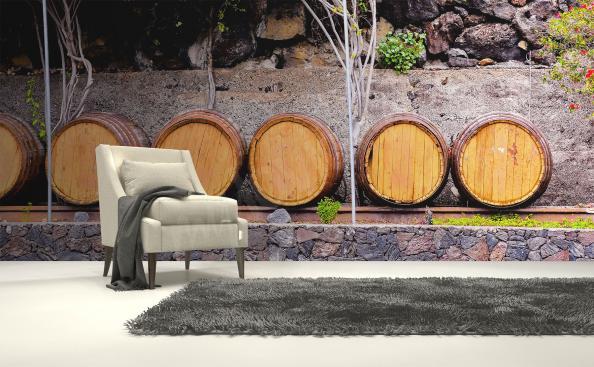 Fototapety beczki na wino 3D