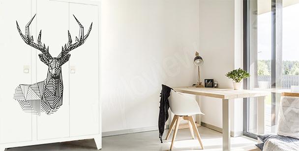 Geometryczna naklejka z jeleniem