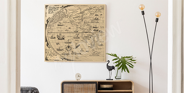 Ilustrowany obraz stara mapa