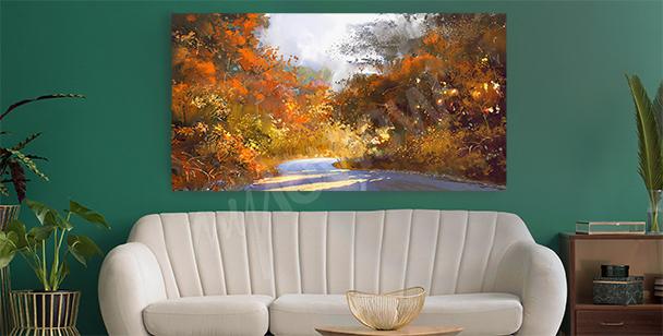 Obraz krajobraz jesienny retro