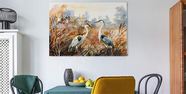 Jesienny obraz z ptakami